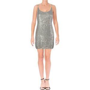 NWT Aqua Wallis Gray Sequined Slip Dress S